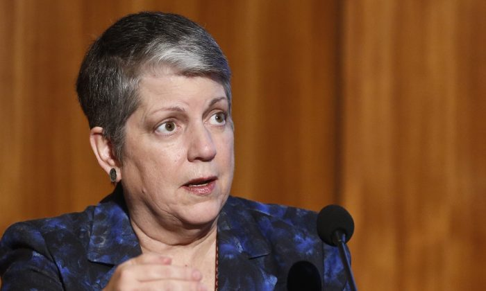Janet Napolitano, the President of the University of California, speaks at Carbon Neutrality Initiative at the University of California-San Diego on Oct. 27, 2015. (AP Photo/Lenny Ignelzi)