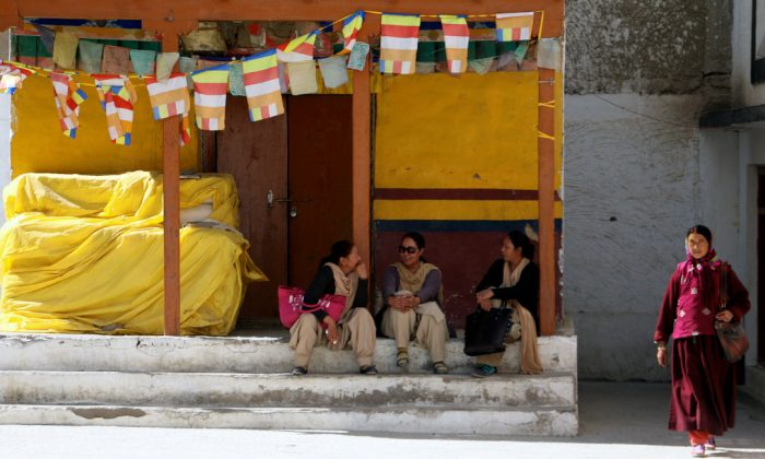 Tibetan refugees outside a monastery in Leh. (Nolan Peterson/The Daily Signal)