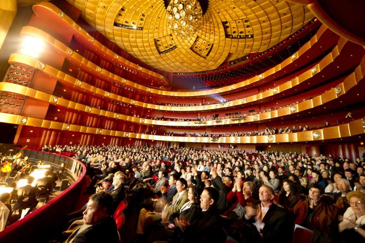 Members of audience applaud Shen Yun Performing Arts artists during the dance company's opening show at David H. Koch Theater at Lincoln Center on Jan. 6. (Dai Bing/The Epoch Times)