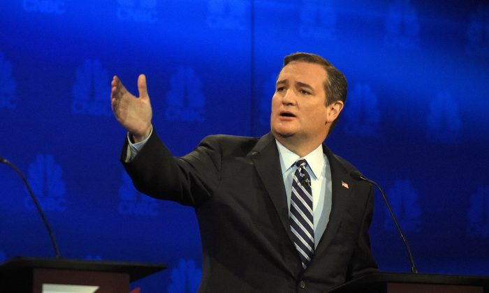 In this Oct. 28, 2015, photo, Republican presidential candidate Sen. Ted Cruz, r-Texas, talks about the mainstream media during the CNBC Republican presidential debate at the University of Colorado in Boulder, Colo. Cruz says the U.S. adopt a European-style value added tax, adding to a division in the Republican presidential field. (AP Photo/Mark J. Terrill)