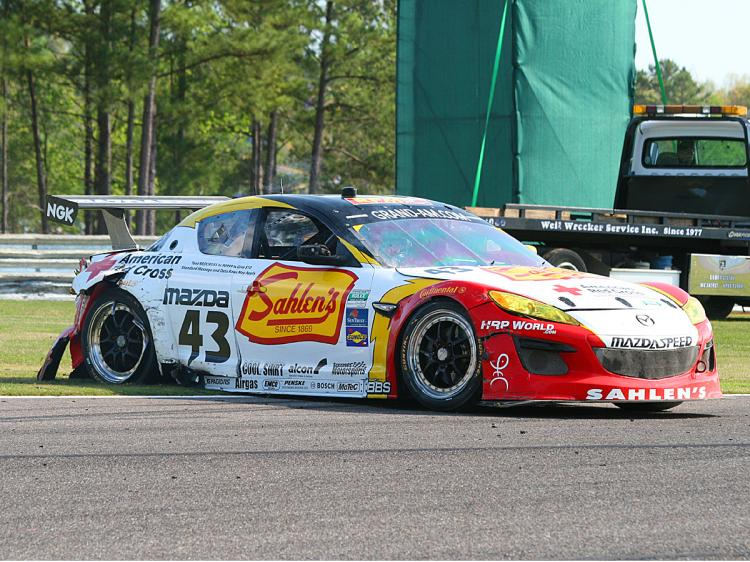 The Sahlen Mazda came up worst in its collision with the #01. (James Fish/The Epoch Times)