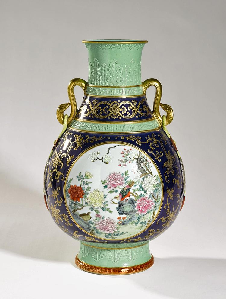 SURPRISE PRICE: An unusual 'famille rose' and gold-decorated vase, probably from the Republican period. Estimated at $800 to $1,200. Sold for $18,002,500! (Courtesy of Sotheby's)