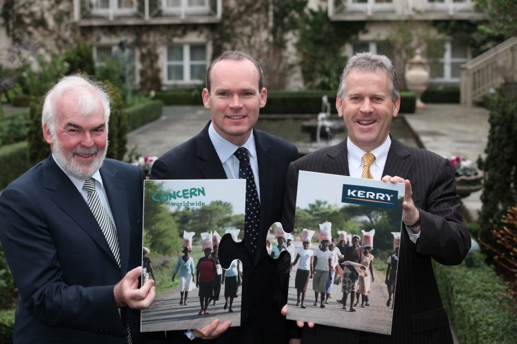 Kerry Group and Concern Launch 'Pioneering Initiative' , (Left to Right) Concern CEO Mr Tom Arnold, Minister Simon Coveney, Kerry Group CEO, Stan McCarthy (courtesy of Concern)