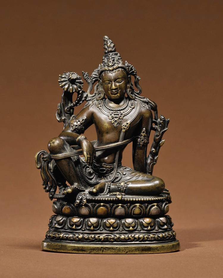 INDIAN STATUE: Manjushri, copper alloy with silver and copper inlay, Eastern India, Pala Period, 11th century. Estimated at $200,000 to $300,000. Sold for $2,098,500. (Courtesy of Sotheby's)