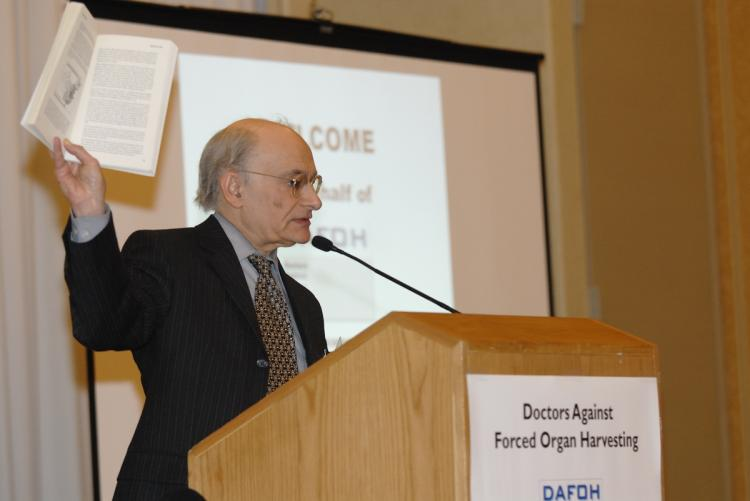 WELL-KNOWN AUTHOR: Human rights lawyer David Matas, who co-authored the book, 'Bloody Harvest: Organ Harvesting from Falun Gong Practitioners in China,' with David Kilgour, singled out the Swiss pharmaceutical company Roche as example.  (Todd Liu/Epoch Times)