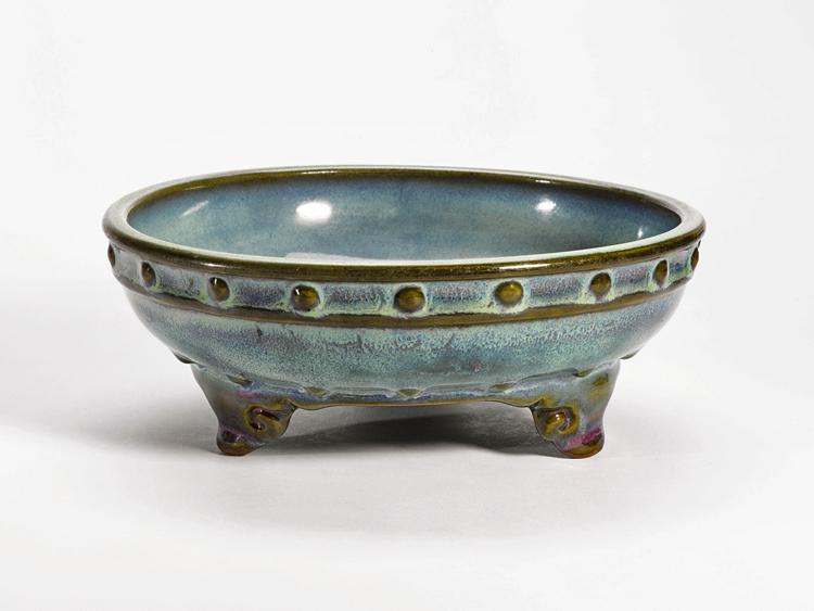 A rare Imperial numbered 'Jun' narcissus bowl, early Ming Dynasty. Estimated value $200,000 to $300,000. Sold for $2,210,500. (Courtesy of Sotheby's)