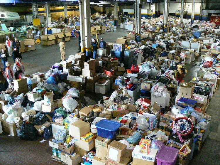 Goods that filled the 40,000-square-foot warehouse are estimated to be enough to fill 12 semi-trucks.  (Burke Long)