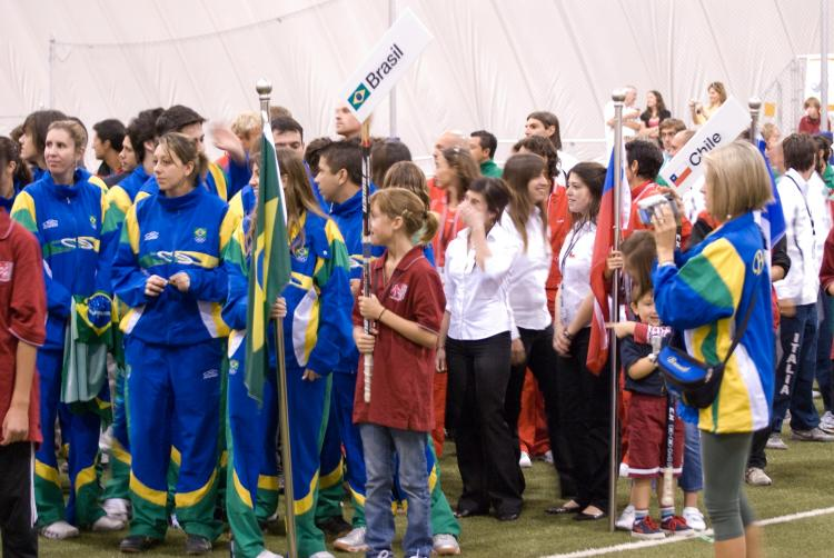 Athletes formally line up by nation for the Opening Ceremonies.  (Neil Campbell/The Epoch Times)