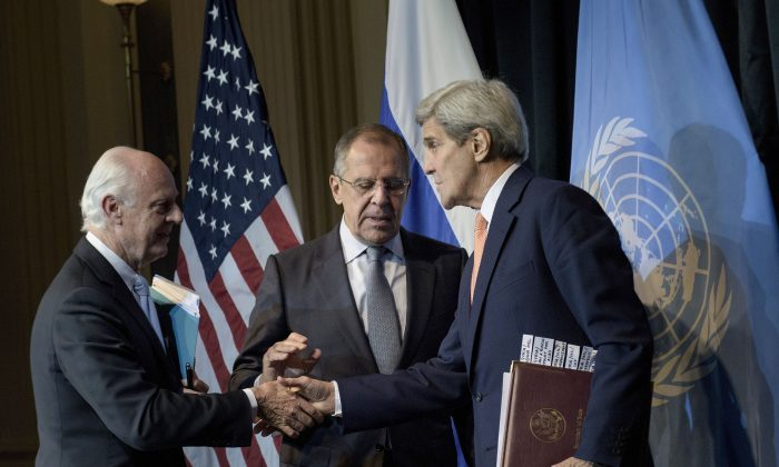 Russian Foreign Minister Sergei Lavrov (C), U.S. Secretary of State John Kerry (R) and Staffan de Mistura, U.N. Special Envoy for Syria, after a press conference at the Grand Hotel in Vienna, Austria, on Oct. 30, 2015. (Brendan Smialowski/AFP/Getty Images)