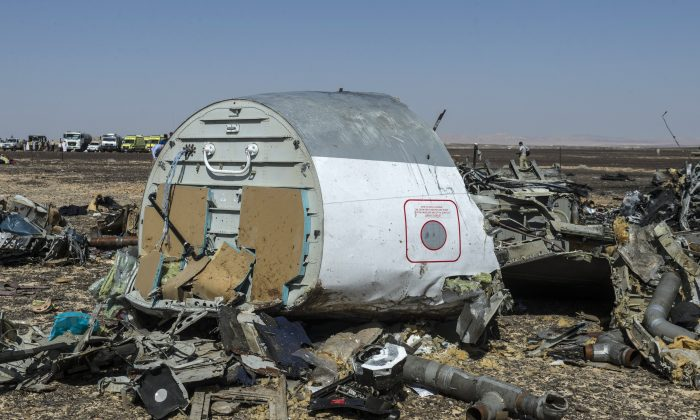 Debris of the A321 Russian airliner lie on the ground a day after the plane crashed in Wadi al-Zolomat, a mountainous area in Egypt's Sinai Peninsula, on November 1, 2015. (KHALED DESOUKI/AFP/Getty Images)