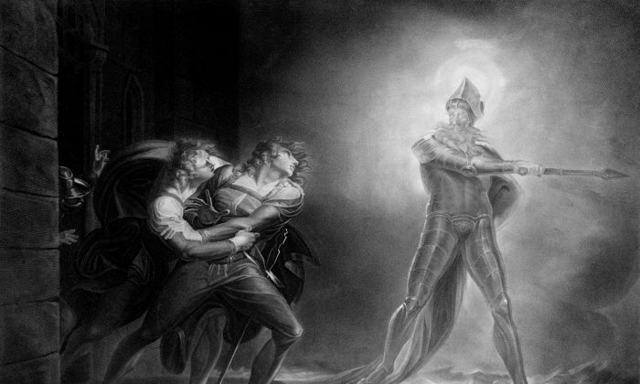"Hamlet, Horatio, Marcellus, and the Ghost, on platform before the Palace of Elsinor; from ""Hamlet, Prince of Denmark,"" Act I, Scene IV by Henry Fuseli, on Sept. 29, 1796, after a 1789 painting by Kaufmann. (Library of Congress)"