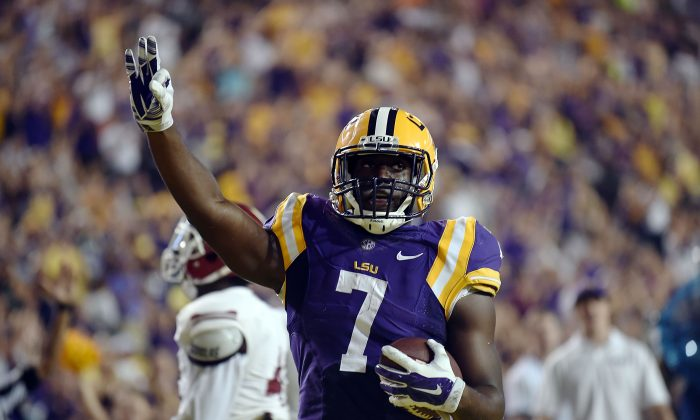 Leonard Fournette has rushed for at least 150 yards in every game this season. (Stacy Revere/Getty Images)