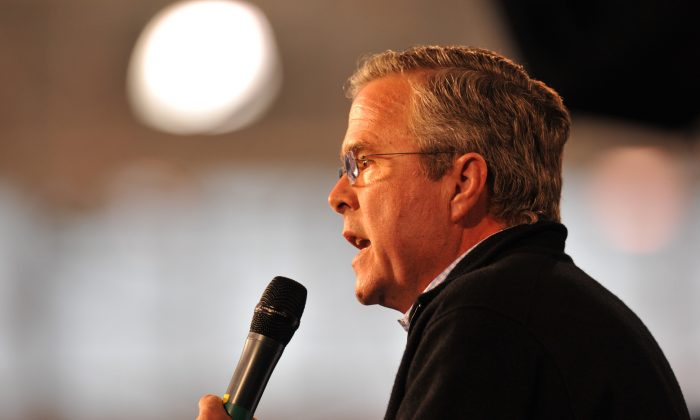 Republican presidential candidate Jeb Bush speaks at the Growth and Opportunity Party, at the Iowa State Fair in Des Moines, on Oct. 31, 2015. (Steve Pope/Getty Images)