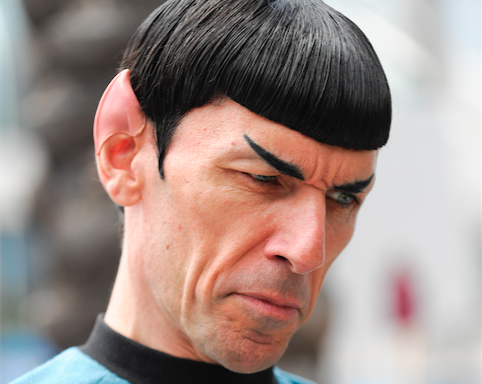 Spock Vegas dressed as Star Trek's Mr. Spock talks to fans on Fifth Avenue outside the convention center. on the second day of the 2015 Comic-Con International held at the San Diego Convention Center Friday, July 10, 2015, in San Diego. The pop-culture event runs July 9-12. (Photo by Denis Poroy/Invision/AP)