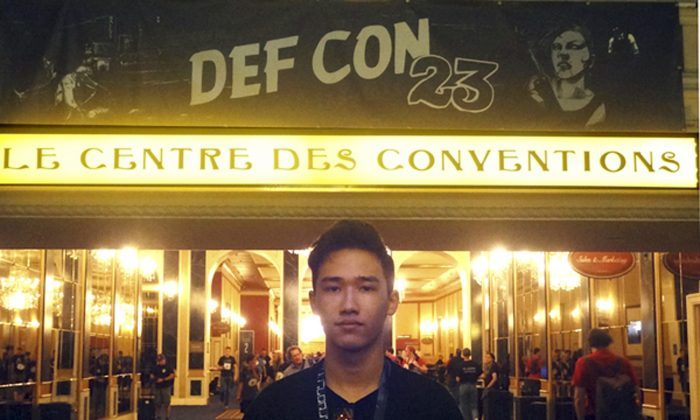 This August 2014 photo provided by Shu Chien shows her son Moshe Kai Cavalin at the DEF CON 23 hacker's conference in Las Vegas. (Shu Chien via AP)