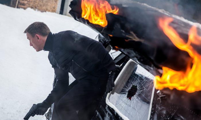 "James Bond (Daniel Craig) leaping from the sliding damaged plane gun drawn; Obertilliach, Austria, in the action adventure ""Spectre."" (Metro-Goldwyn-Mayer Studios Inc./Columbia Pictures/EON Productions/Danjaq, LLC and Columbia Pictures Industries, Inc.)"