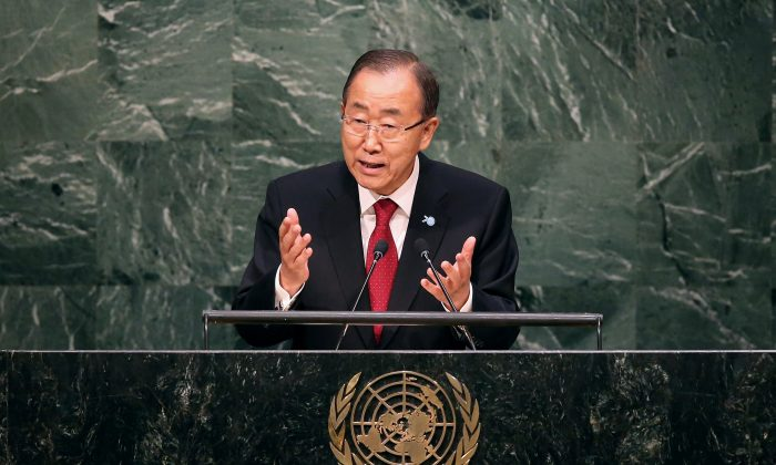 U.N. Secretary General Ban Ki-moon delivers opening remarks at the U.N. General Assembly at U.N. headquarters in New York City on Sept. 28, 2015. (John Moore/Getty Images)