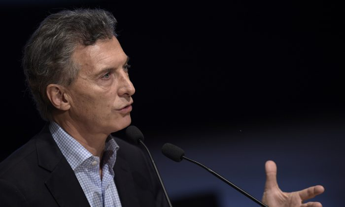 Buenos Aires Mayor and presidential candidate for 'Cambiemos' party Mauricio Macri delivers a speech during the 7th anniversary of the Metropolitan Police in Buenos Aires, Argentina, on Oct. 28, 2015. (Juan Mabromata/AFP/Getty Images)