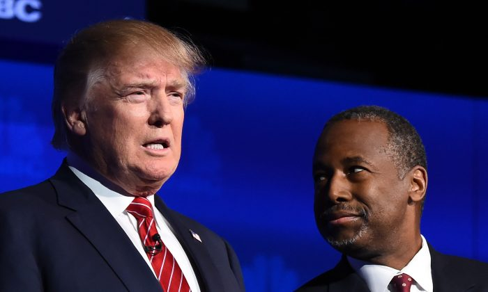 Republican presidential hopefuls Donald Trump and Ben Carson at the third Republican Presidential Debate, in Boulder, Colo., on Oct. 28. (Robyn Beck/AFP/Getty Images)