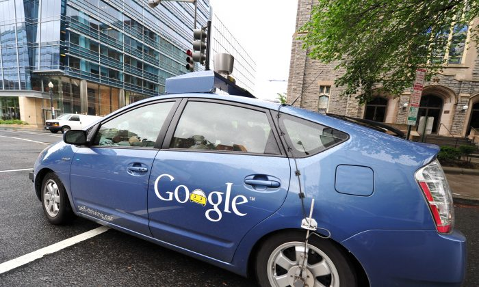 A Google self-driving car manoeuvres through the streets of Washington, D.C., May 14, 2012. (Karen Bleier/AFP/GettyImages)