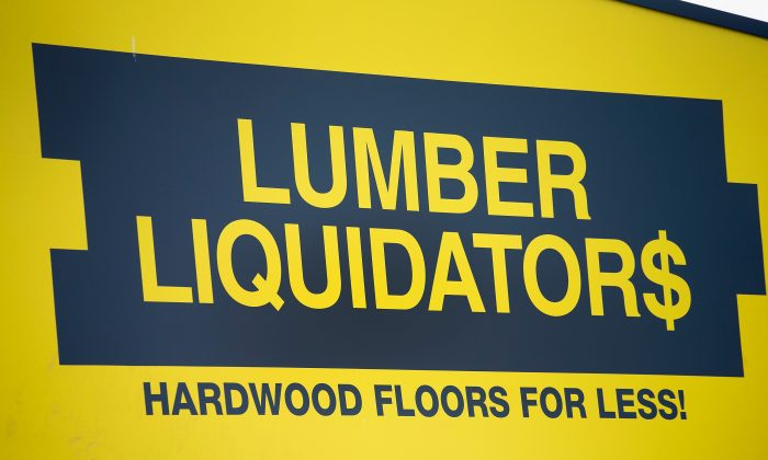 A sign marks the location of a Lumber Liquidators store on April 29, 2015 in Cicero, Illinois. (Scott Olson/Getty Images)