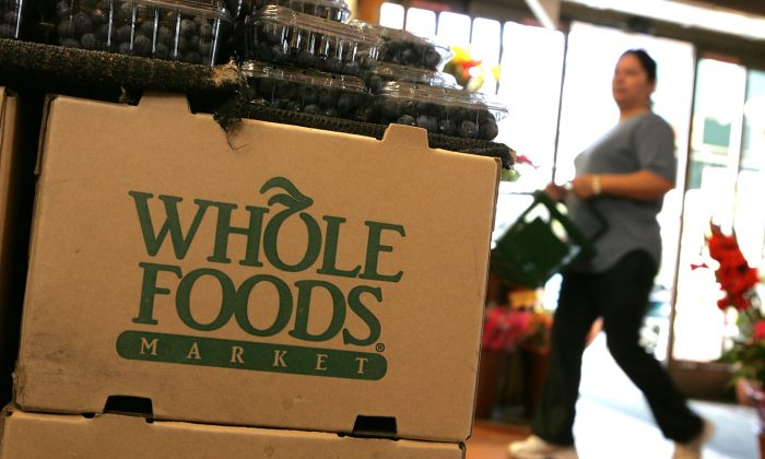 The Whole Foods logo adorns a cardboard box at a Whole Foods Market in San Francisco, Calif., on Feb. 22, 2007. Whole Foods reports quarterly financial results on Wednesday, Nov. 4, 2015. (Justin Sullivan/Getty Images)