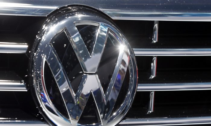 The logo of Volkswagen at a car is photographed during the Car Show in Frankfurt, Germany, on Sept. 22, 2015. (Michael Probst/AP Photo)
