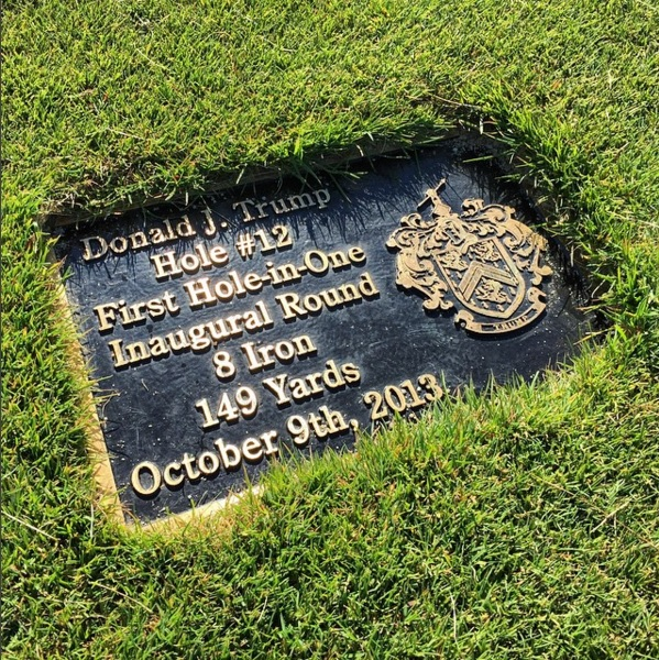 "Donald Trump provided the first ""ace"" at Ferry Point with his hole-in-one at the 12th. ()"