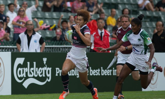 Aggie Poon Pak Yan of Hong Kong, the leading try scorer after the first day in the women's competition (5 Tries) in the Asia Rugby Sevens Qualifier in Hong Kong on Saturday Nov 7, 2015. (Phoebe Leung)