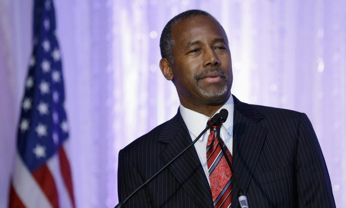 Republican presidential candidate Ben Carson speaks during the Black Republican Caucus of South Florida event benefiting the group's scholarship fund, in Palm Beach Gardens, Fla., on Nov. 6, 2015. (AP Photo/Alan Diaz)