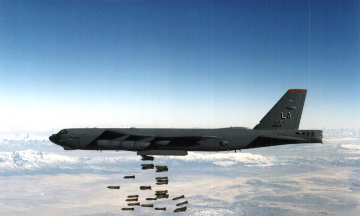 A U.S. Airforce B-52 Stratofortress heavy bomber drops bombs in this undated file photo. (U.S. Airforce/Getty Images)