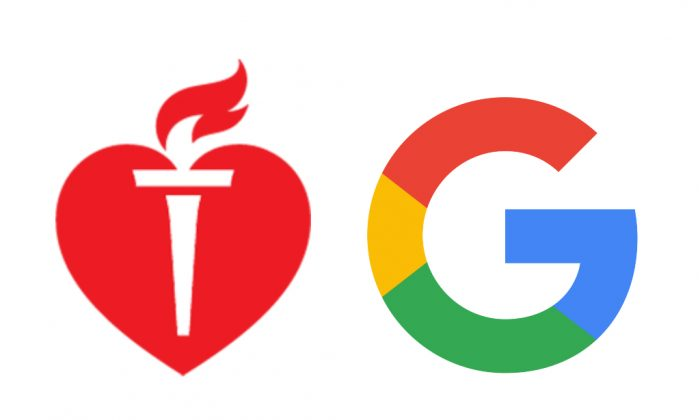 The logos of the American Heart Association and Google.
