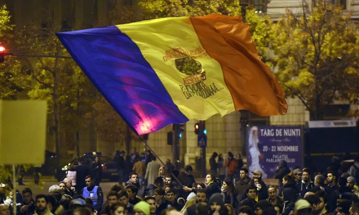 Romanians protest on Nov. 4, 2015. (Daniel Mihailescu/AFP/Getty Images)