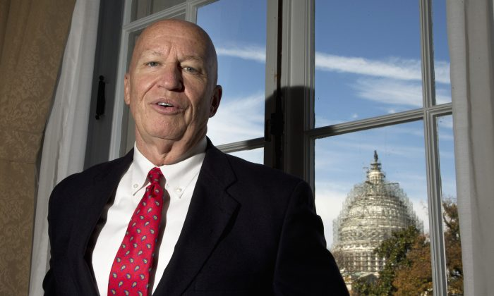 Rep. Kevin Brady (R-Texas), the new chairman of the House Ways and Means Committee, poses for a photo during an interview with The Associated Press in his office on Capitol Hill in Washington, D.C., on Nov. 6, 2015. The House's newest and perhaps most powerful committee chairman is a 60-year-old Texas Republican who began life in a South Dakota Democratic family and lost his father at age 12 in a courtroom shooting. (AP Photo/Manuel Balce Ceneta)