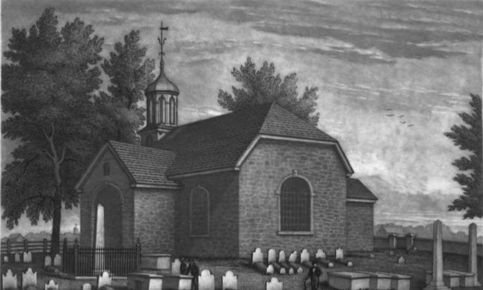 """The Old Swedes Church in Wilmington, Delaware, drawn by Benjamin Ferris, c. 1845. From the book """"Reminiscences of Wilmington"""" by Elizabeth Montgomery. (Public Domain)"""