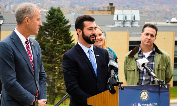 (L-R) Congressman Sean Patrick Maloney, Cullen Lyons, Lisa Gallina, and Bruno Gatta at Mt. St. Mary College in Newburgh on Nov. 7, 2015. (Yvonne Marcotte/Epoch Times)