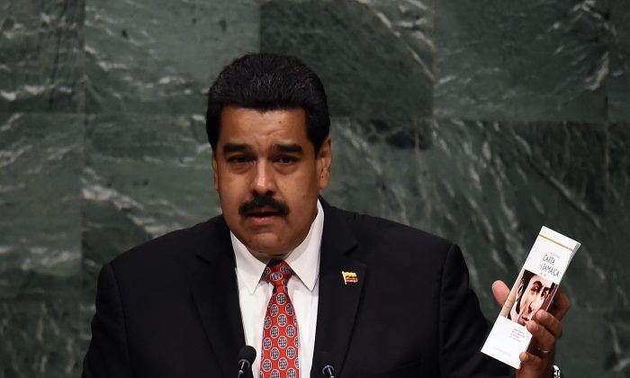 Venezuela's President Nicolas Maduro at the 70th session of the U.N. General Assembly in New York on Sept. 29, 2015. (Jewel Samad/AFP/Getty Images)