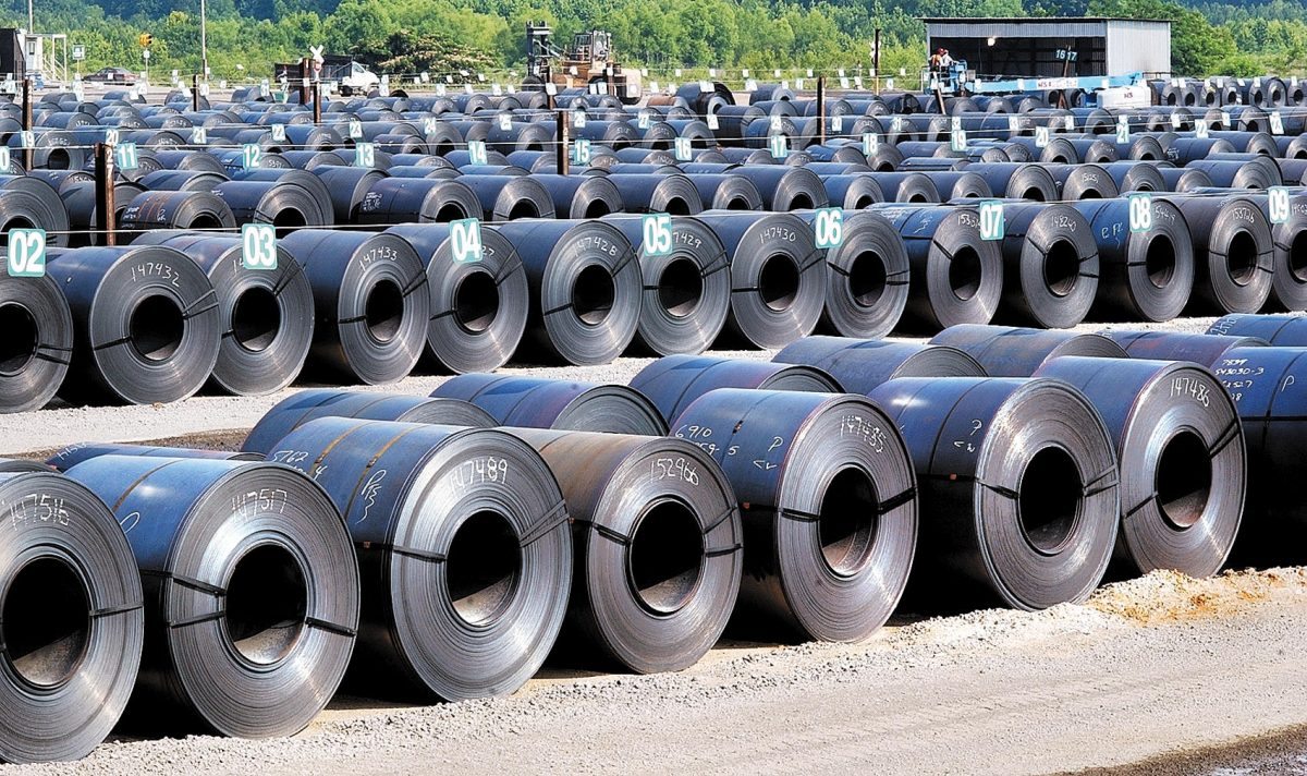 Steel coils produced by Nucor Steel are shown in Decatur, Ala., on June 12, 2004. (John Godbey/The Decatur Daily via AP)