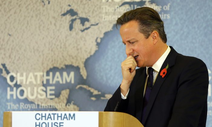 Britain's Prime Minister David Cameron thinks during a question and answer session after he delivers a speech on EU reform and the UK's renegotiation, in London, Tuesday, Nov. 10, 2015.  (AP Photo/Kirsty Wigglesworth)