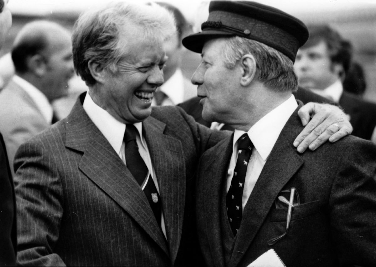 U.S. President Jimmy Carter and West German Chancellor Helmut Schmidt prepare to depart Berlin on July 15, 1978. (AP-Photo)