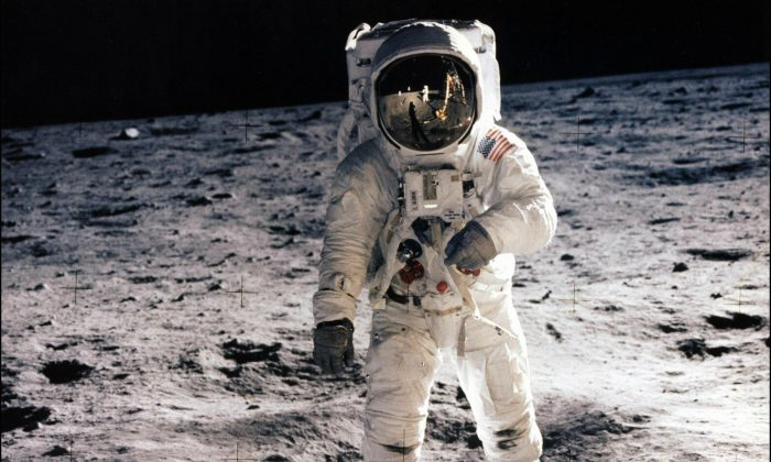 Astronaut Edwin E. Aldrin Jr. at the surface of the moon during the Apollo 11 mission on July 20, 1969. (NASA/AFP/Getty Images)