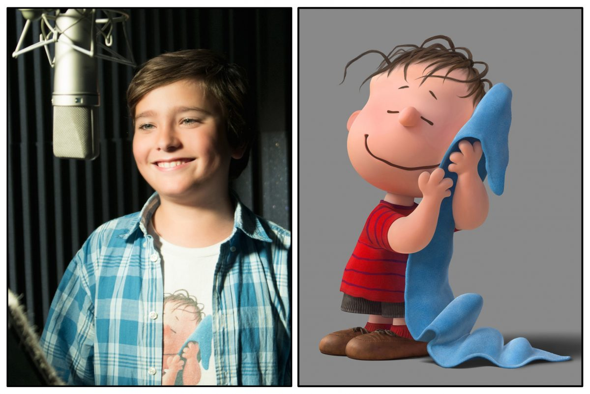 "boy in plaid shirt and cartoon boy holding blue blanket in ""The Peanuts Movie"""