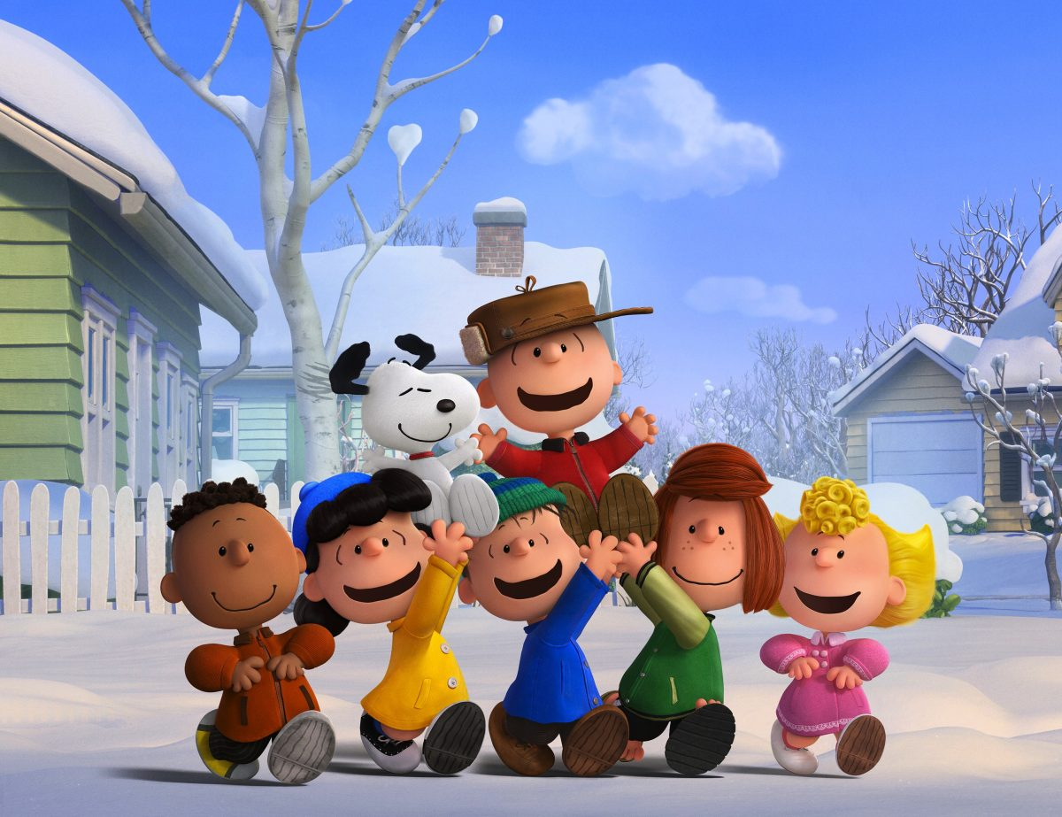 "6 cartoon children and one cartoon dog in ""The Peanuts Movie"""