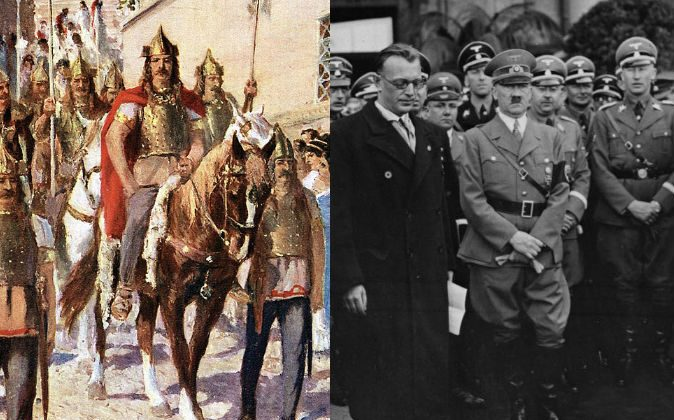 Left: Alaric, the Visgoth king who sacked Rome, parades through Athens. (Public domain) Right: Adolf Hitler in Vienna, 1938. (German Federal Archives, Public domain)
