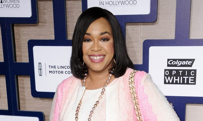 FILE - In this Feb. 19, 2015 file photo, Shonda Rhimes arrives at the 8th Annual Essence Black Women In Hollywood Luncheon in Beverly Hills, Calif.  (Richard Shotwell/Invision/AP, File)