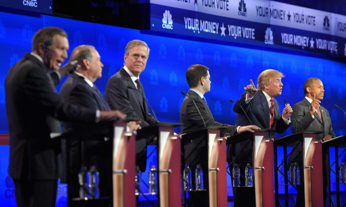 Republican presidential candidate in a debate in Boulder, Colo., on Oct. 28, 2015, (AP Photo/Mark J. Terrill)