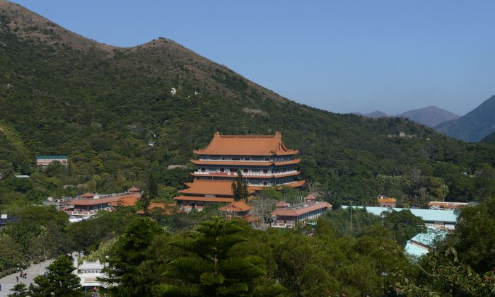 This picture taken on Feb. 23, 2014 shows the exterior of the Po Lin monastery on the outlying island of Lantau in Hong Kong.  (Sam Panthaky/AFP/Getty Images)