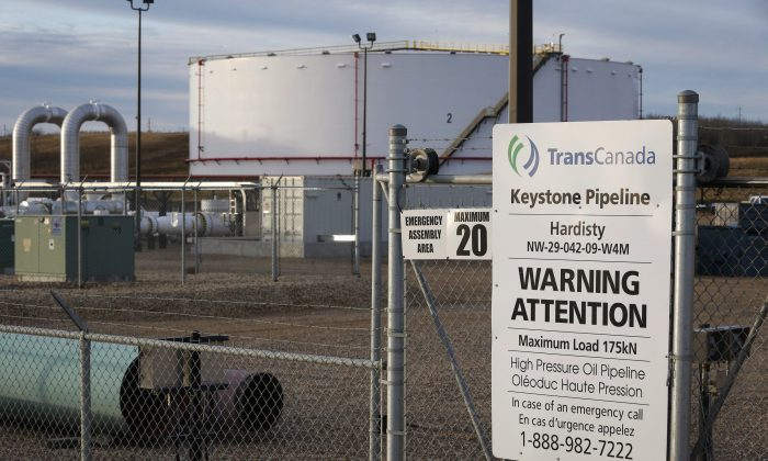 TransCanada's Keystone pipeline facilities in Hardisty, Alta., where oilsands crude was to have begun its journey along Keystone XL. (The Canadian Press/Jeff McIntosh)