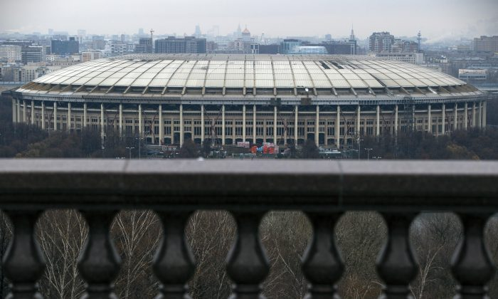 A view of the Luzhniki stadium which was the main venue at the 1980 Summer Olympics and hosted the Opening and Closing Ceremonies, Athletics, Football finals, in Moscow, Russia, Wednesday, Nov. 11, 2015. Russian President Vladimir Putin canceled a meeting with sports leaders, scheduled to be held in Sochi on Wednesday in the wake of the country's doping scandal. Putin had been due to discuss the doping allegations against Russia, with track federation coach Yuri Borzakovsky in attendance. (AP Photo/Pavel Golovkin)