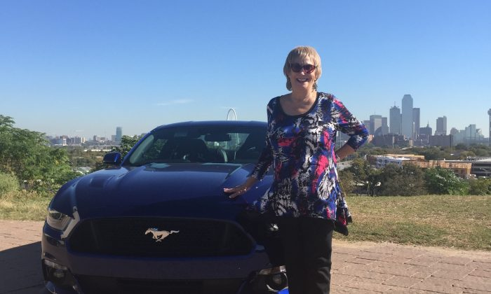 The author with the Deep Impact Blue 2015 Mustang GT. (Jo Ann Holt)